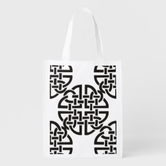 Celtic Knot Black and White Reusable Grocery Bag