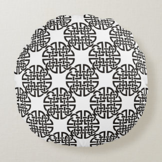 Celtic Knot Black and White Round Pillow