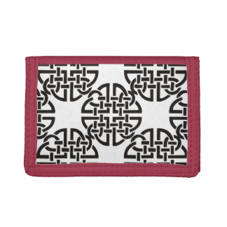 Celtic Knot Black and White Trifold Wallet