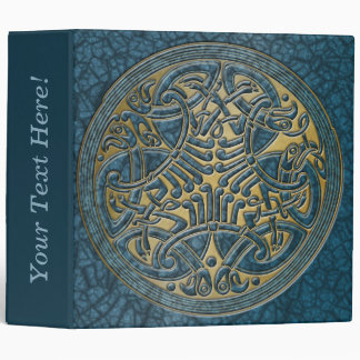 Celtic Knot Circle of Aqua Birds & Gold-Binder Vinyl Binders