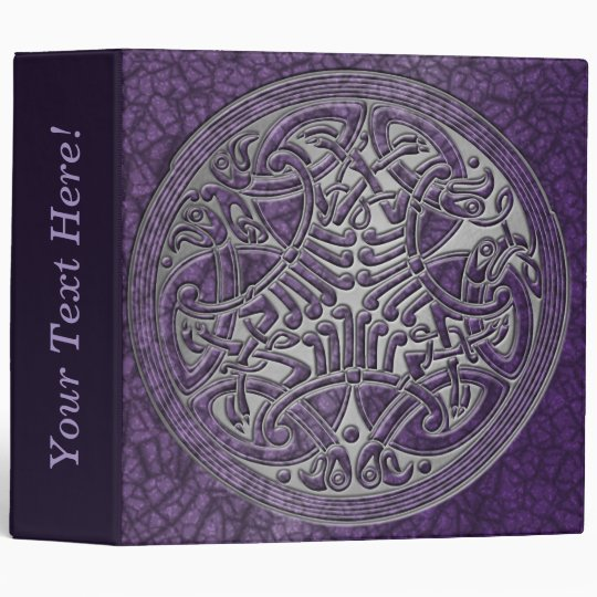 Celtic Knot Circle of Purple Birds & Silver-Binder 3 Ring Binder