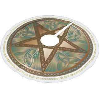Celtic Knot Copper Pentagram Yuletide Tree Shirt Brushed Polyester Tree Skirt