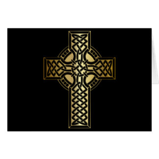 Celtic Knot Cross in Gold and Black Card