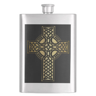 Celtic Knot Cross in Gold and Black Hip Flask