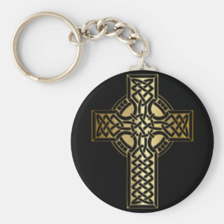 Celtic Knot Cross in Gold and Black Keychain
