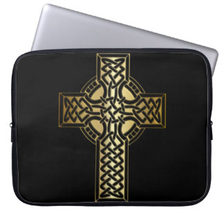 Celtic Knot Cross in Gold and Black Laptop Sleeve