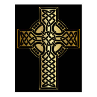 Celtic Knot Cross in Gold and Black Postcard
