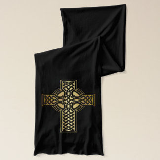 Celtic Knot Cross in Gold and Black Scarf