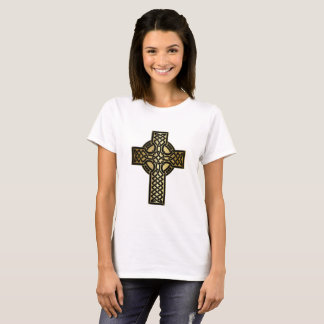 Celtic Knot Cross in Gold and Black T-Shirt