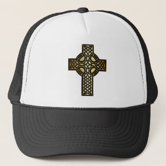 Celtic Knot Cross in Gold and Black Trucker Hat