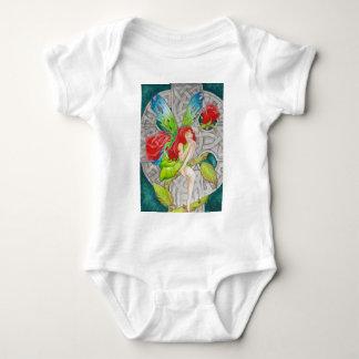 celtic knot cross red rose fairy baby bodysuit