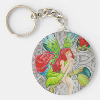 celtic knot cross red rose fairy basic round button keychain