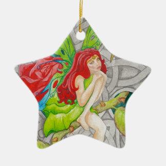celtic knot cross red rose fairy ceramic star ornament