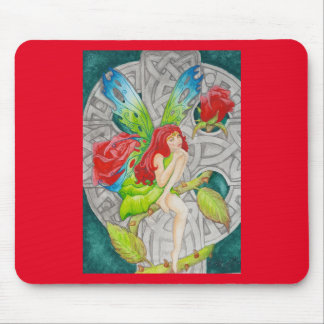 celtic knot cross red rose fairy mouse pad