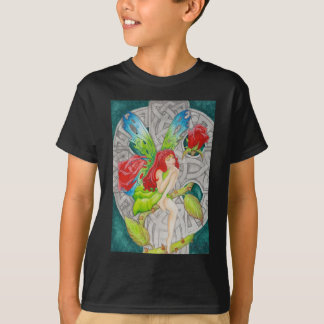 celtic knot cross red rose fairy T-Shirt
