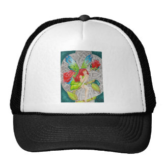 celtic knot cross red rose fairy trucker hat