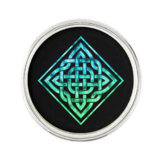 Celtic Knot - Diamond Blue Green Design Lapel Pin