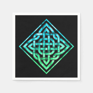 Celtic Knot - Diamond Blue Green Disposable Napkins