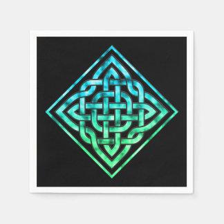 Celtic Knot - Diamond Blue Green Paper Napkin