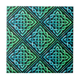Celtic Knot - Diamond Blue Green Tile Ceramic Tile