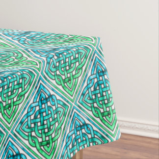 Celtic Knot - Diamond Blue Green White Tablecloth
