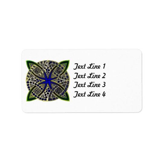 Celtic Knot Doodle Green Blue Label