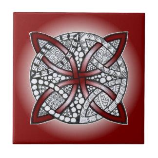 Celtic Knot Doodle Maroon Red Tile