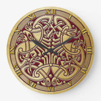 Celtic Knot Gold Birds & Red-Rnd. Clock