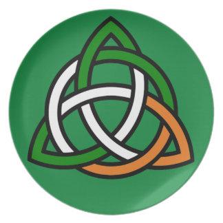 Celtic Knot in Green Orange and White Dinner Plates