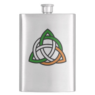 Celtic Knot in Green Orange and White Flask