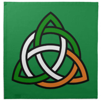 Celtic Knot in Green Orange and White Napkin