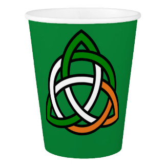Celtic Knot in Green Orange and White Paper Cup