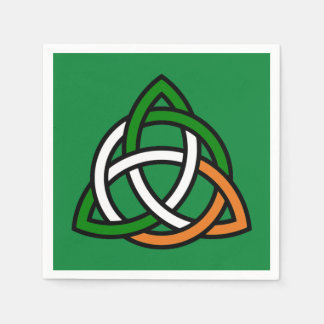 Celtic Knot in Green Orange and White Paper Napkin