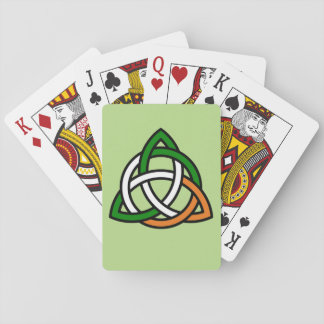 Celtic Knot in Green Orange and White Playing Cards