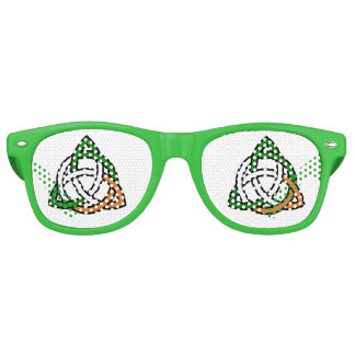 Celtic Knot in Green Orange and White Retro Sunglasses