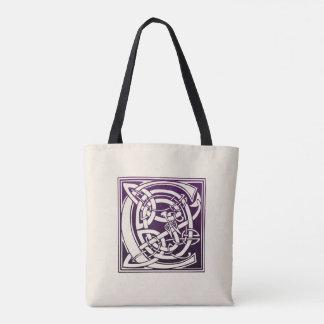 Celtic Knot Initial - C - Purple Tote Bag