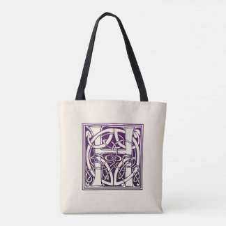 Celtic Knot Initial - H - Purple Tote Bag
