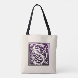 Celtic Knot Initial - S - Purple Tote Bag