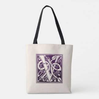 Celtic Knot Initial - V - Purple Tote Bag