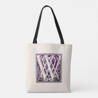 Celtic Knot Initial - W - Purple Tote Bag