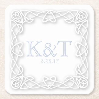 Celtic Knot Initials - Custom Coaters - light blue Square Paper Coaster