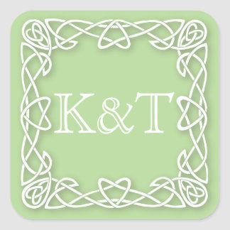 Celtic Knot Initials - Customize Background color Square Sticker