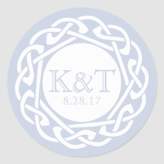 Celtic Knot Initials - Light Blue Round Sticker