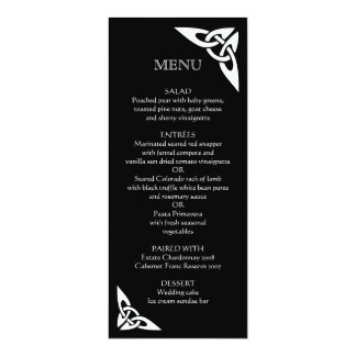 Celtic Knot Initials - Menu Card black