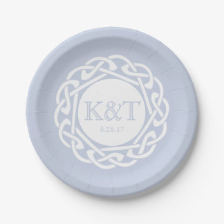 Celtic Knot Initials -  Wedding Plate Light Blue