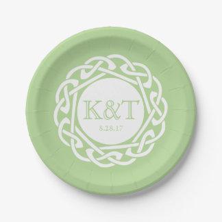 Celtic Knot Initials -  Wedding Plate light green