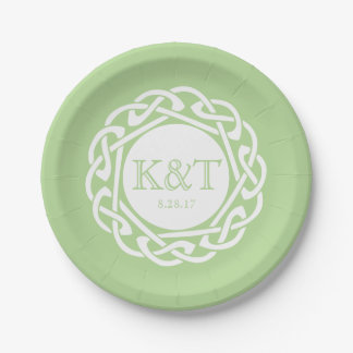 Celtic Knot Initials -  Wedding Plate light green 7 Inch Paper Plate