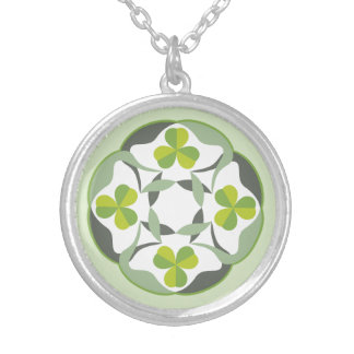 Celtic Knot Inspired Shamrock Clover Silver Plated Necklace