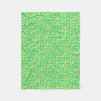 Celtic Knot Irish Braid Pattern Green Yellow Fleece Blanket