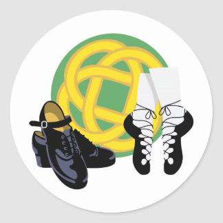 Celtic Knot Irish Shoes Classic Round Sticker